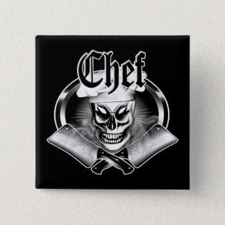 Badge Carré 5 Cm Crâne 4 de chef avec les fendoirs de tabagisme