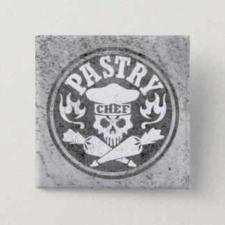 Badge Carré 5 Cm Crâne de chef de pâtisserie et sacs croisés de