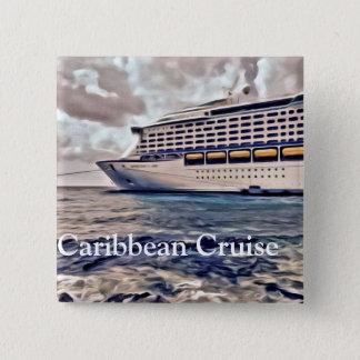 Badge Carré 5 Cm Croisière des Caraïbes - bouton carré de 2 pouces