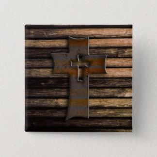 Badge Carré 5 Cm Croix en bois naturelle de Brown