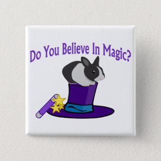Badge Carré 5 Cm Croyez à la magie