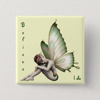 Badge Carré 5 Cm Croyez au bouton de fées
