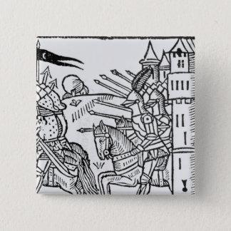 Badge Carré 5 Cm Crusading les chevaliers montent pour faire la
