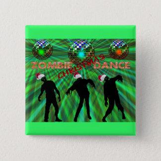 Badge Carré 5 Cm Danse de disco de Noël de zombi