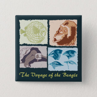 Badge Carré 5 Cm Darwin, The Voyage of the Beagle