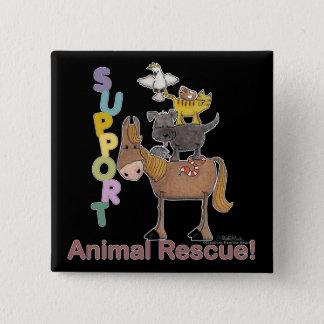 Badge Carré 5 Cm Délivrance animale de soutien