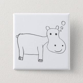 Badge Carré 5 Cm Dessin d'hippopotame en noir et blanc