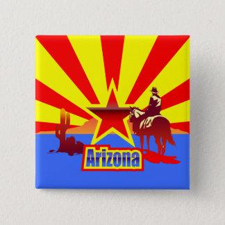 Badge Carré 5 Cm Dessin vintage de drapeau d'état de l'Arizona