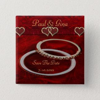 Badge Carré 5 Cm Deux anneaux de mariage d'or