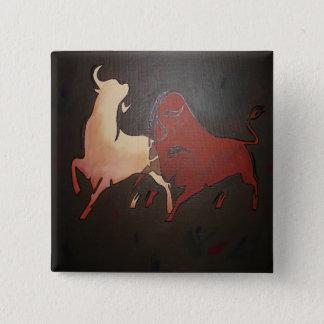 Badge Carré 5 Cm Deux taureaux de combat