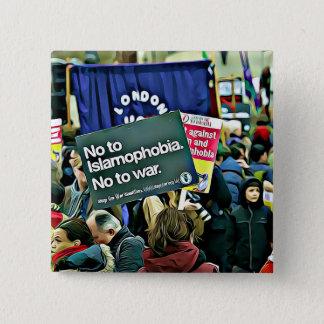 Badge Carré 5 Cm Dites non à Islamophob, bouton d'égalité