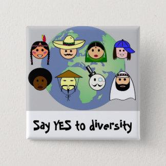 Badge Carré 5 Cm Diversité d'anti racisme mondial de personnes pro