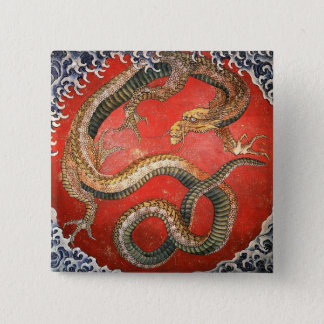 Badge Carré 5 Cm Dragon, beaux-arts de Japonais de Hokusai