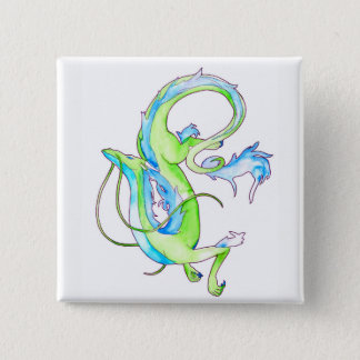 Badge Carré 5 Cm Dragon vert
