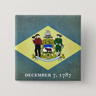 Badge Carré 5 Cm Drapeau âgé du Delaware