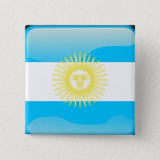 Badge Carré 5 Cm Drapeau brillant argentin