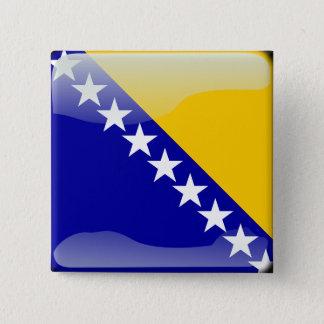 Badge Carré 5 Cm Drapeau brillant bosnien