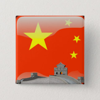 Badge Carré 5 Cm Drapeau brillant chinois