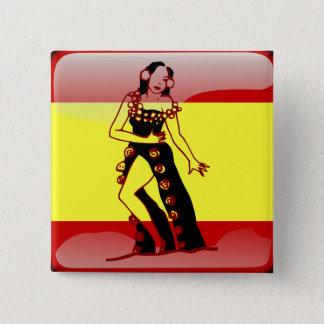 Badge Carré 5 Cm Drapeau brillant de l'Espagne