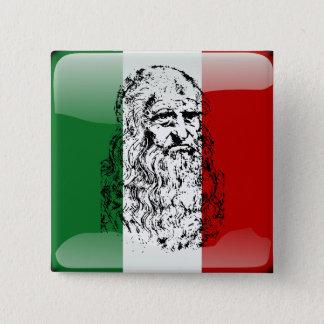 Badge Carré 5 Cm Drapeau brillant de l'Italie