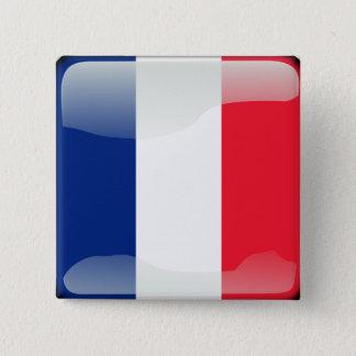 Badge Carré 5 Cm Drapeau brillant français