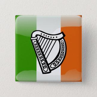 Badge Carré 5 Cm Drapeau brillant irlandais