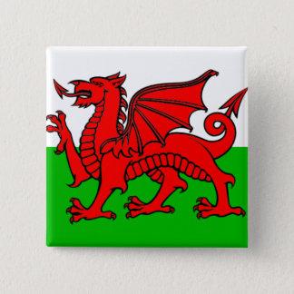 Badge Carré 5 Cm Drapeau du Pays de Galles