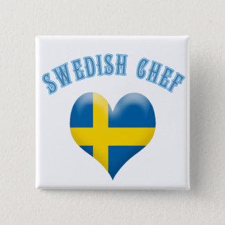Badge Carré 5 Cm Drapeau en forme de coeur de chef suédois de la