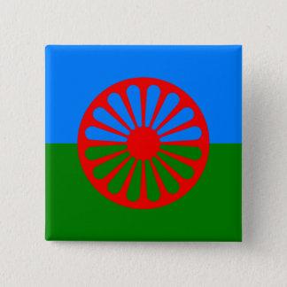 Badge Carré 5 Cm Drapeau gitan bohémien officiel