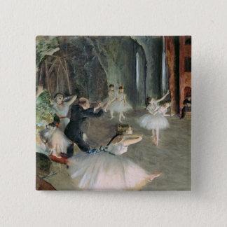 Badge Carré 5 Cm Edgar Degas | la répétition du ballet sur l'étape