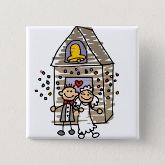Badge Carré 5 Cm Église de congé de jeunes mariés