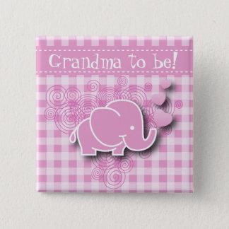 Badge Carré 5 Cm Éléphant rose et blanc de bébé de plaid