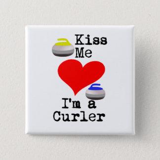 Badge Carré 5 Cm Embrassez-moi que je suis un bigoudi