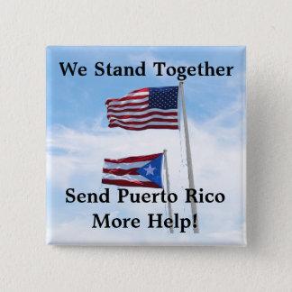Badge Carré 5 Cm Envoyez à Porto Rico plus de Pin de catastrophe