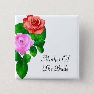 Badge Carré 5 Cm Épouser démodé rouge et rose de roses