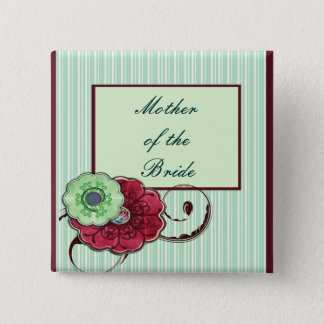 Badge Carré 5 Cm Épouser floral de remous