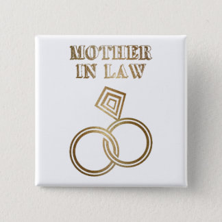 Badge Carré 5 Cm Épouser romantique d'anneaux d'or de belle-mère