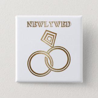 Badge Carré 5 Cm Épouser romantique d'anneaux d'or de nouveaux