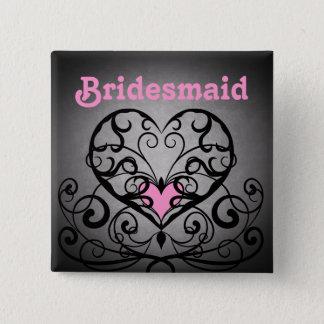 Badge Carré 5 Cm Épouser romantique foncé de remous et de coeurs