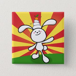 Badge Carré 5 Cm Équilibre de Mochi de lapin !