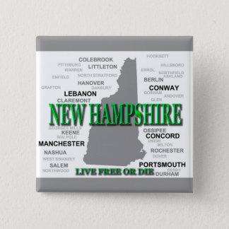 Badge Carré 5 Cm État du New Hampshire