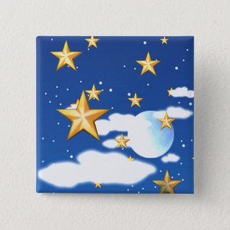 Badge Carré 5 Cm Étoiles d'or -