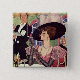 Badge Carré 5 Cm Femme vintage buvant la cigarette de tabagisme de