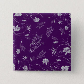 Badge Carré 5 Cm Fleurs et papillons de scintillement de diamant