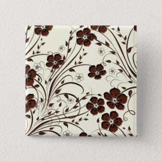 Badge Carré 5 Cm Fleurs et vignes brun chocolat jaunes crémeuses