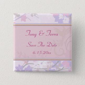 Badge Carré 5 Cm Fleurs florales en pastel de rose et de lavande