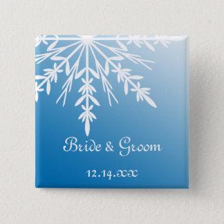 Badge Carré 5 Cm Flocon de neige blanc sur le mariage bleu d'hiver