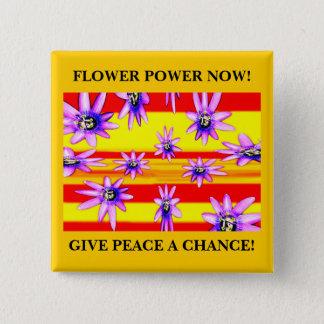 BADGE CARRÉ 5 CM FLOWER POWER MAINTENANT !