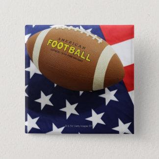 Badge Carré 5 Cm Football américain avec le drapeau des USA