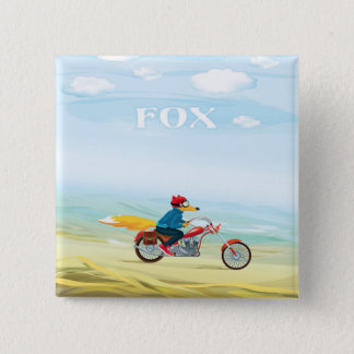 Badge Carré 5 Cm Fox-Man sur une moto rouge